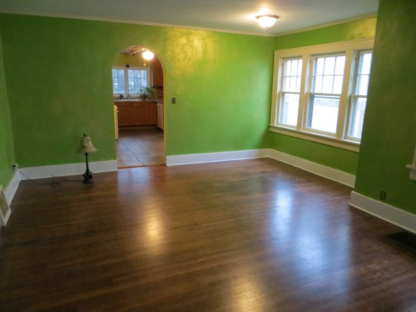 Pre reno living room. Green paint with gold sponge painting.