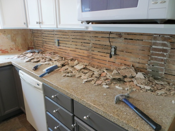 Knocking out back splash tile