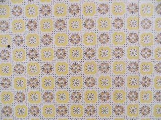 Vintage yellow and brown floral wallpaper
