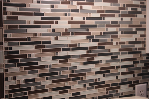Neutral glass mosaic back splash tile from Lowe's