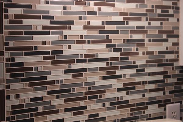 Neutral glass mosaic back splash tile from Lowe's
