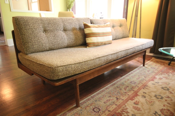 1960s platform couch reupholstered in brown tweed