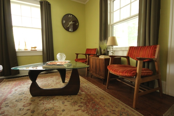 Red velvet mid century Buckstaff chairs, Noguchi style table, Broyhill Brasilia commode side table