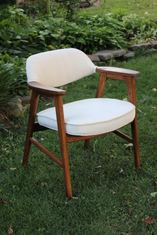 Reupholstered white mid century Paoli chair