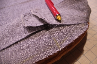 Marking a seat cushion to be sewed