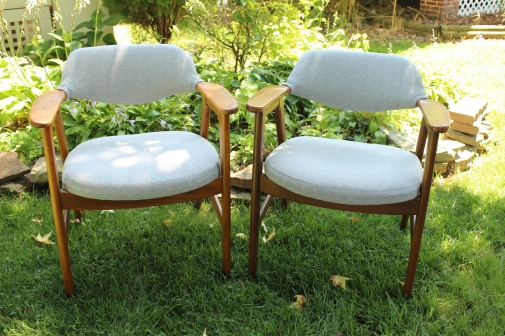 Gray mid century Paoli chairs, reupholstered