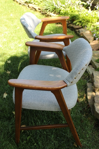 Reupholstered blue or gray mid century Paoli chair