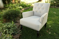 Tufted linen arm chair