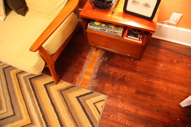 Bad refinishing on a wood floor