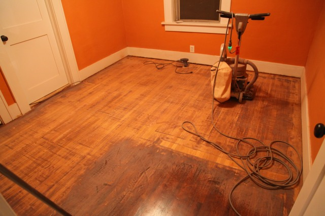 Sanding floors with a square buff sander