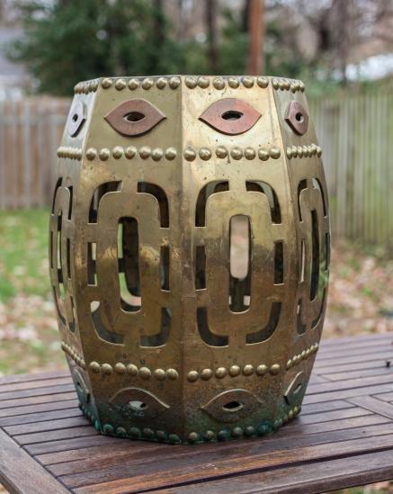 Brass drum stool before polishing
