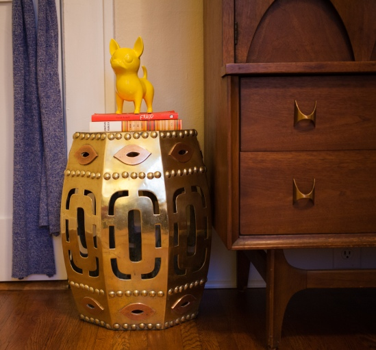 Vintage brass Chinese drum stool