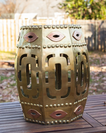 Polished brass Chinese drum stool