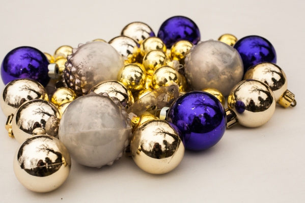 Purple, silver, and gold Christmas balls