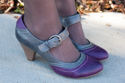 Retro purple and gray heels; retro mary janes