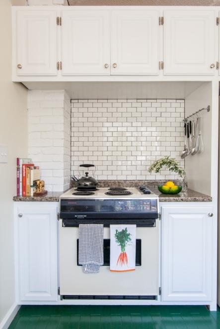 Small bright kitchen; all white kitchen