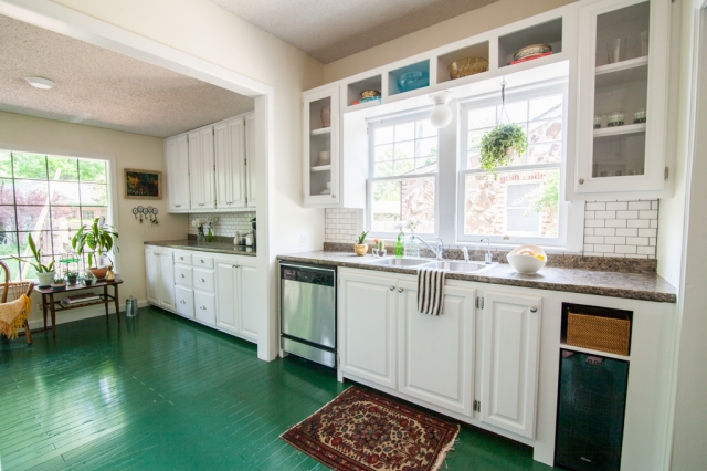 White cabinets + green painted floors