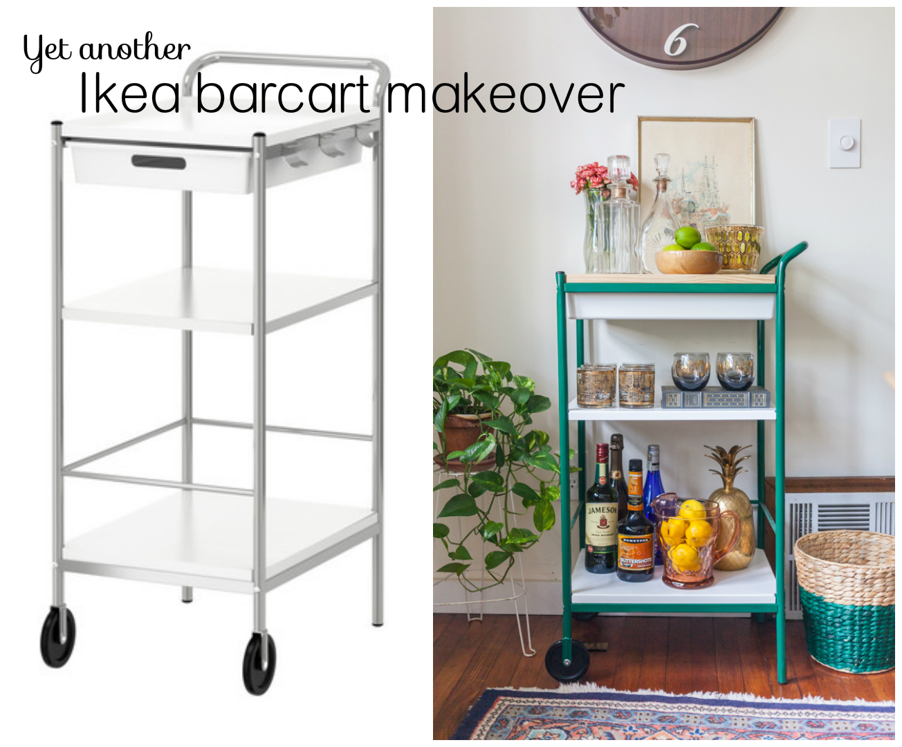 diy ikea bar cart with wood top white dog vintage. Black Bedroom Furniture Sets. Home Design Ideas