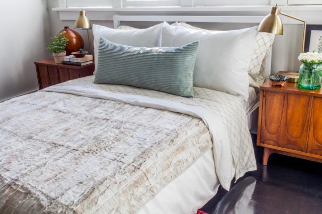 Glam neutral bedding.