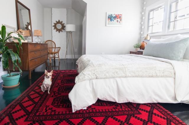 Vintage modern bedroom makeover with a loft-like feel.